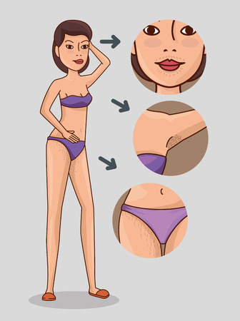 Frauenkörper mit Haarentfernung Icons Vector Illustration Design