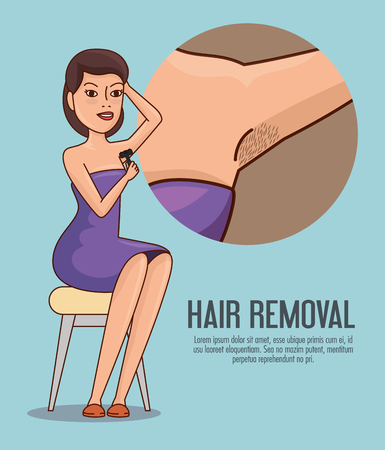 woman armpit with hair removal icons vector illustration design  イラスト・ベクター素材