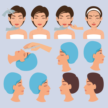 surgeon hands and woman plastic surgery icons vector illustration