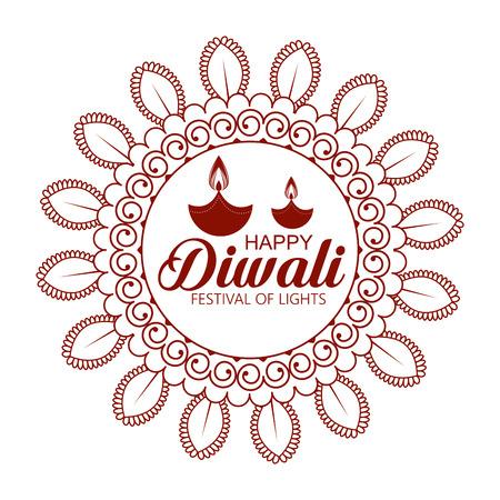 happy diwali festival of lights with mandala vector illustration design