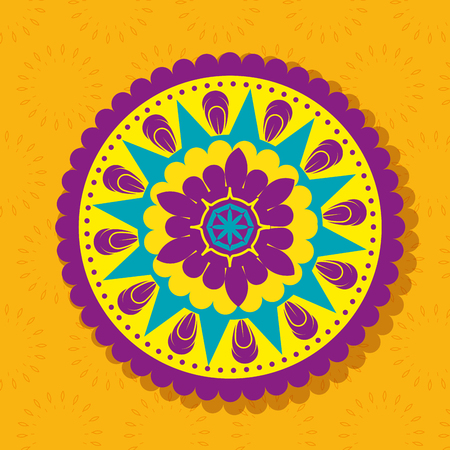 happy diwali festival of lights with mandala vector illustration design