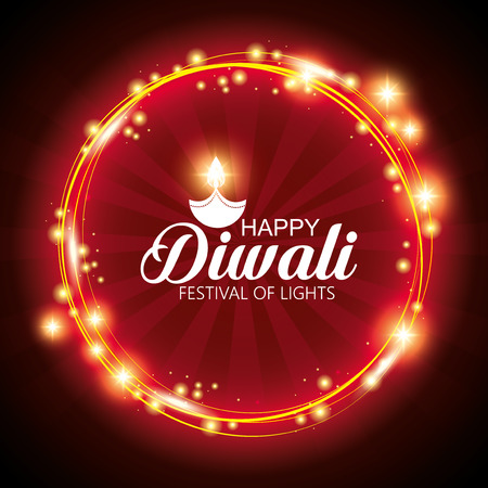 happy diwali festival of lights with mandala vector illustration design Stock Vector - 112451428
