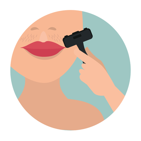 woman face with hair removal icons vector illustration design Illustration