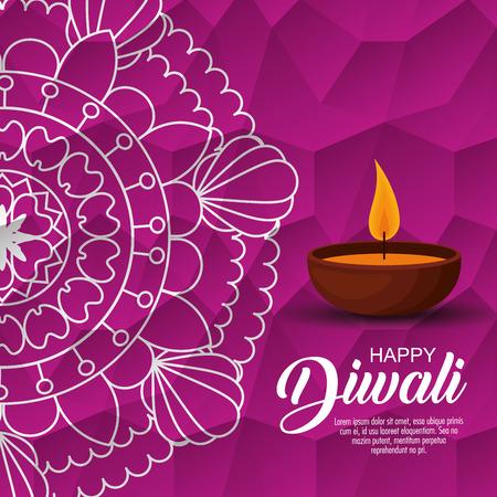 happy diwali festival of lights with candles vector illustration design Illustration