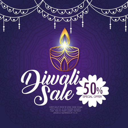 happy diwali sale with candles vector illustration design