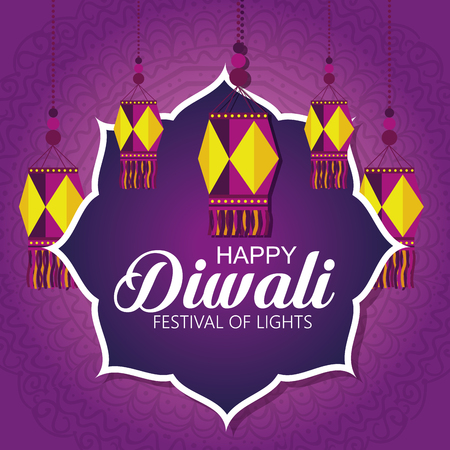 happy diwali festival of lights with lanterns vector illustration design