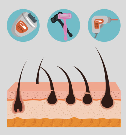layers skin structure with hair removal icons vector illustration design Ilustracja