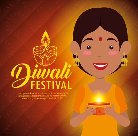 happy diwali festival of lights with candles vector illustration design Illustration
