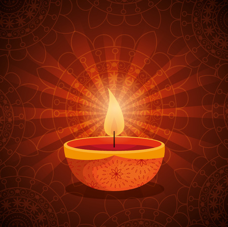 happy diwali festival of lights with candles vector illustration design 일러스트