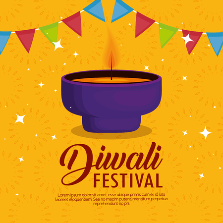 happy diwali festival of lights with candles vector illustration design Иллюстрация