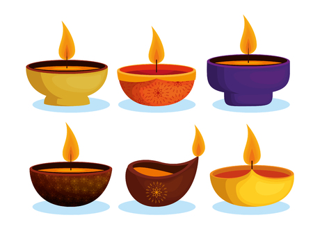 happy diwali festival of lights with candles vector illustration design Çizim