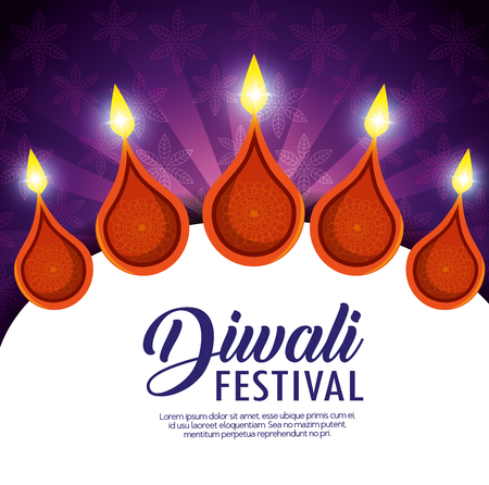 happy diwali festival of lights with candles vector illustration design  イラスト・ベクター素材