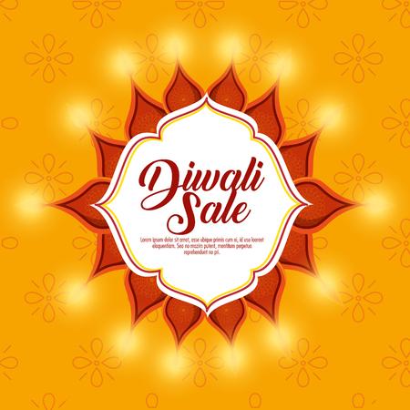 happy diwali sale with mandala vector illustration design