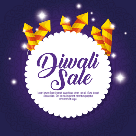 happy diwali sale with fireworks vector illustration design
