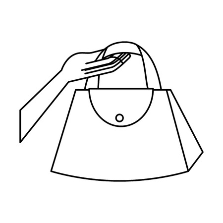 hand lifting fashion feminine handbag vector illustration design