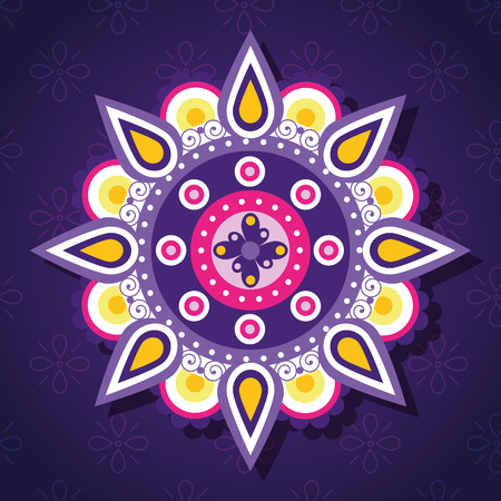 happy diwali festival of lights with mandala vector illustration design Vektorové ilustrace
