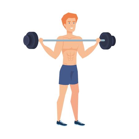 strong man lifting weight vector illustration design