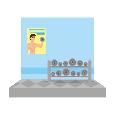 gym with weight equipment scene vector illustration design Illustration