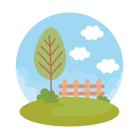 landscape with tree and fence vector illustration design