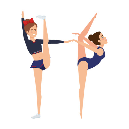 girls practicing exercice character vector illustration design Standard-Bild - 127475795