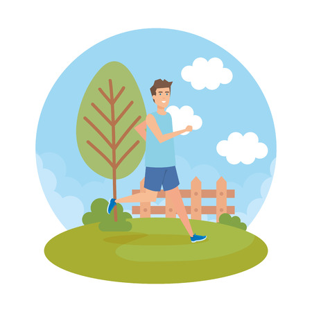 athletic man running in the park character vector illustration design