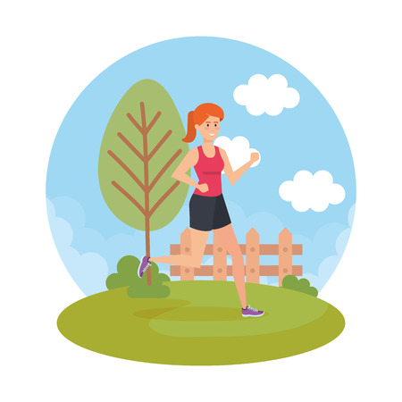 athletic woman running in the park vector illustration design  イラスト・ベクター素材