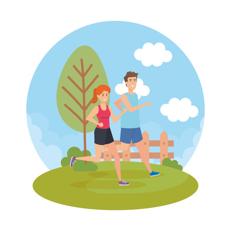 athletic couple running in the park characters vector illustration design