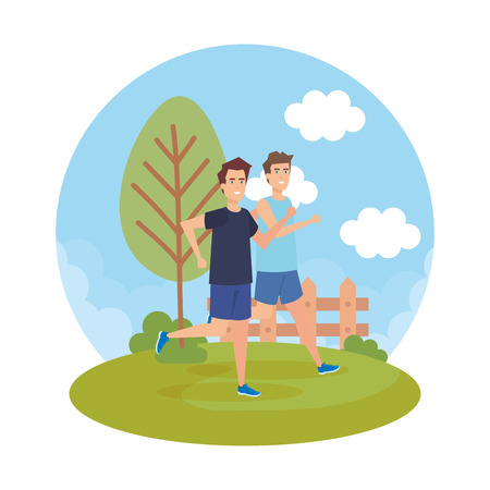 athletic men running in the park characters vector illustration design