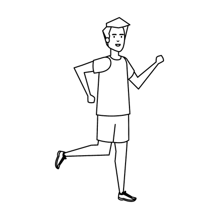 athletic man running character vector illustration design  イラスト・ベクター素材