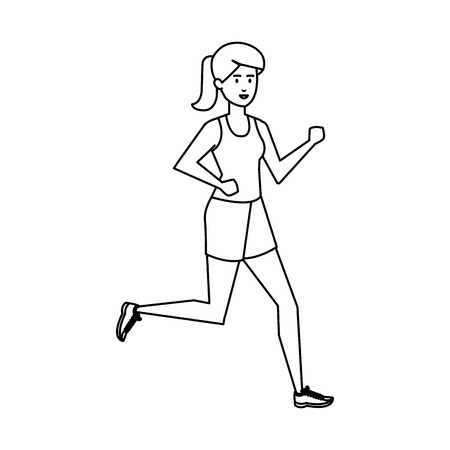 athletic woman running character vector illustration design