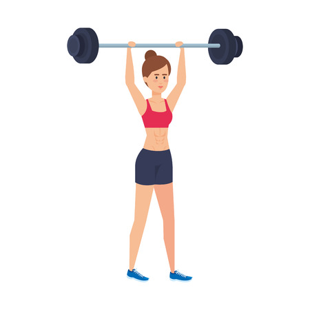 strong woman lifting weight vector illustration design