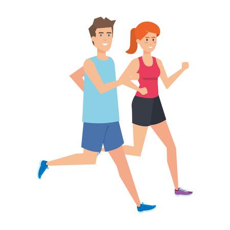 athletic couple running characters vector illustration design 版權商用圖片 - 127475816