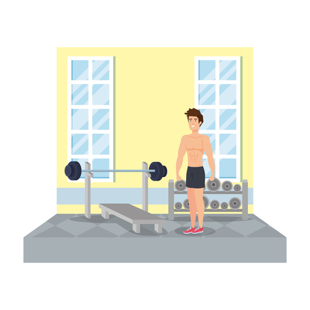 strong man lifting weight in the gym vector illustration design
