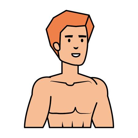 athletic man shirtless character vector illustration design Illustration