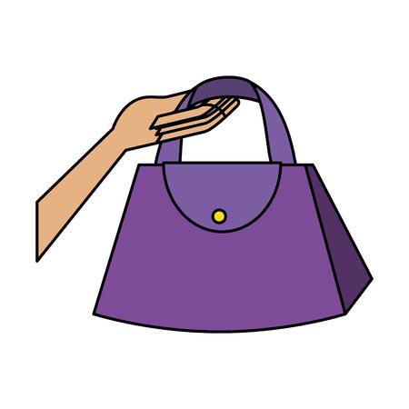 hand lifting fashion feminine handbag vector illustration design
