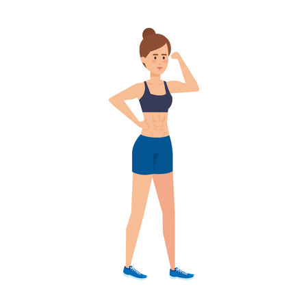 athletic woman sporting character vector illustration design