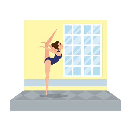 woman practicing exercice in the gym vector illustration design