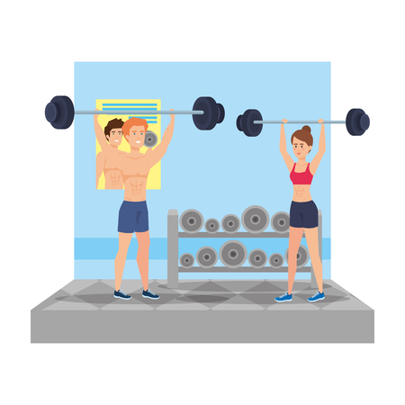 strong couple lifting weight in the gym vector illustration design