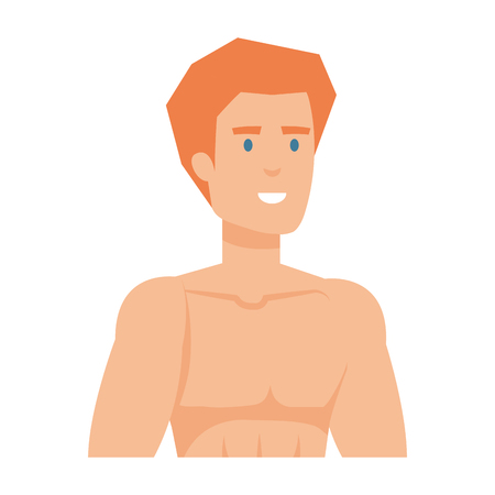 athletic man shirtless character vector illustration design Illustration