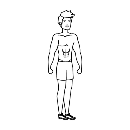 athletic man shirtless character vector illustration design