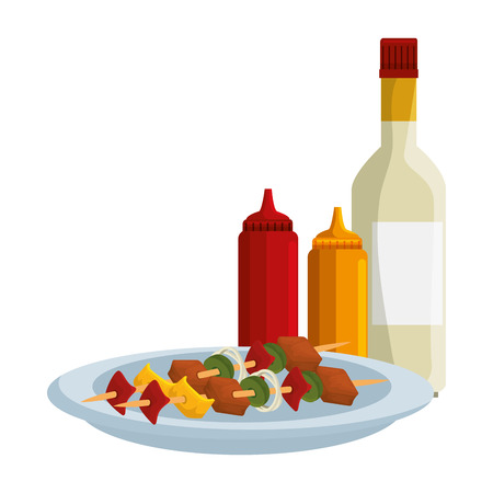 dish with delicious meat skewers and sauces vector illustration design