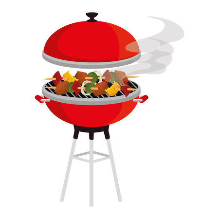 oven grill with meat skewers vector illustration design Ilustracja