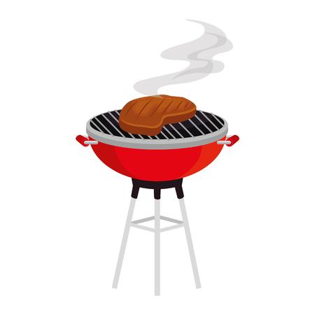 oven grill with meat steak vector illustration design Illustration