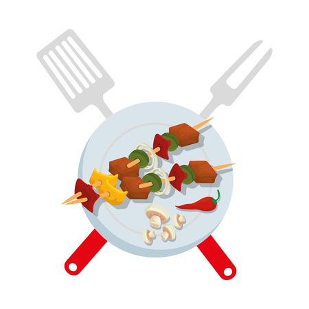 dish with delicious meat skewers vector illustration design