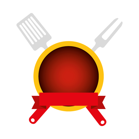 spatule and fork grill cutleries vector illustration design