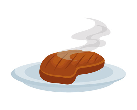 Gericht mit Fleisch-Rindfleisch-Vektor-Illustration-Design