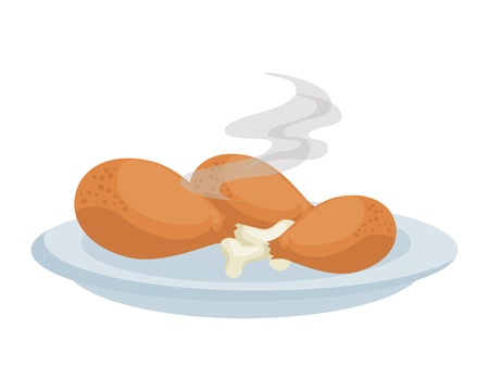 dish with chicken thighs and food vector illustration design