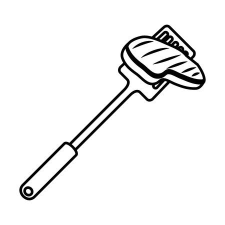 spatule with meat beef vector illustration design Ilustração