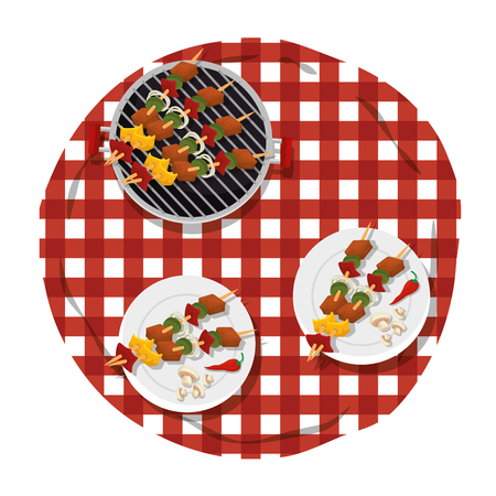 picnic table with delicious food vector illustration design