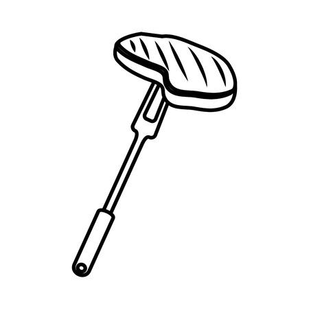 fork with meat beef vector illustration design